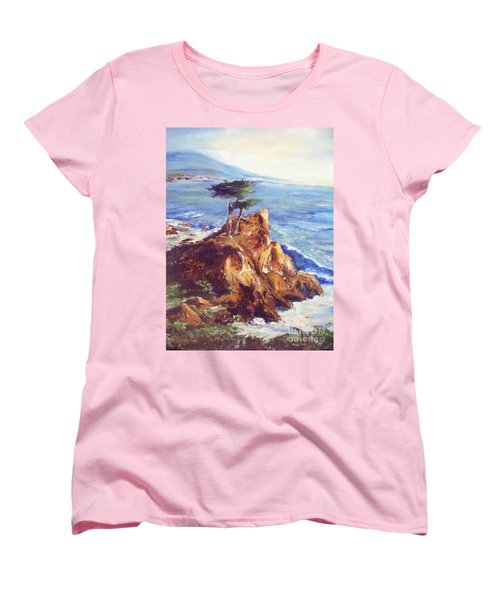 Women's T-Shirt (Standard Cut) featuring the painting Imaginary Cypress by Eric  Schiabor