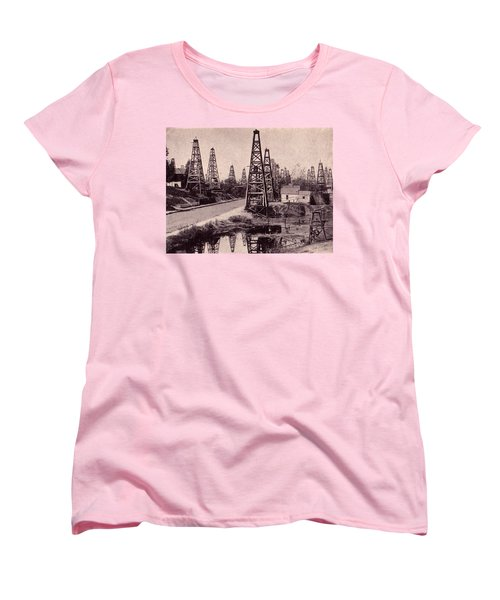 Women's T-Shirt (Standard Cut) featuring the drawing Indiana Petroluem Wells Circa 1900 by Peter Gumaer Ogden