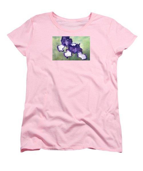 Irises Duet In Purple Flowers Colorful Original Painting Garden Iris Flowers Floral K. Joann Russell Women's T-Shirt (Standard Cut) by Elizabeth Sawyer