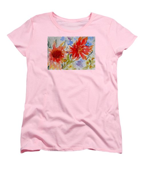 Women's T-Shirt (Standard Cut) featuring the painting Jann's Gaillardia by Beverley Harper Tinsley