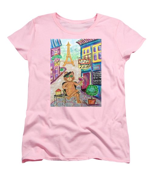 Women's T-Shirt (Standard Cut) featuring the painting Jazz Cat by Diane Pape