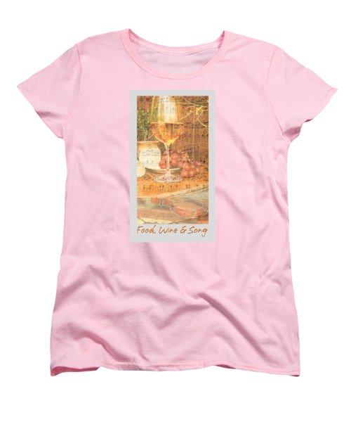 Food Wine And Song Women's T-Shirt (Standard Cut) by Brooks Garten Hauschild