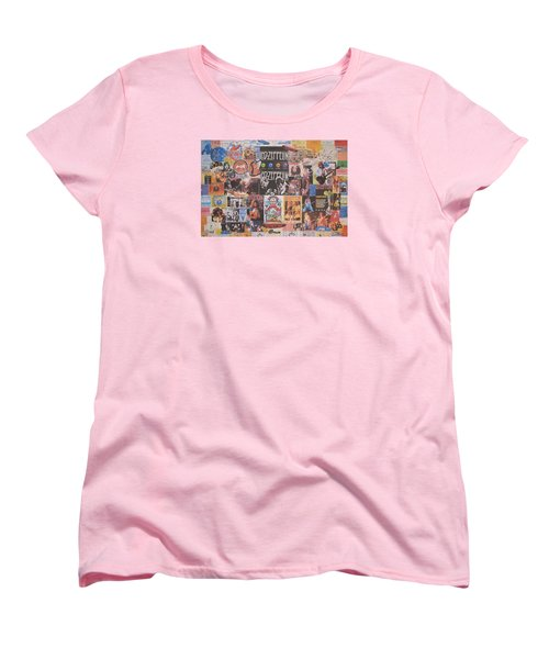 Led Zeppelin Years Collage Women's T-Shirt (Standard Cut) by Donna Wilson