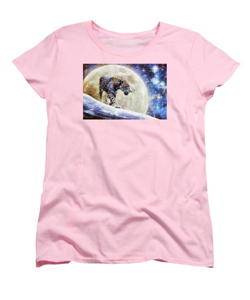 Women's T-Shirt (Standard Cut) featuring the painting Leopard Moon by Greg Collins