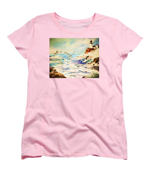 Women's T-Shirt (Standard Cut) featuring the painting Lighthouse Gulls And Waves by Al Brown