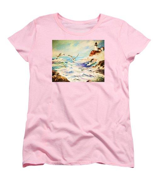 Lighthouse Gulls And Waves Women's T-Shirt (Standard Cut) by Al Brown