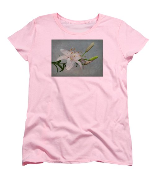 Women's T-Shirt (Standard Cut) featuring the photograph Pink Lily With Texture by Patti Deters