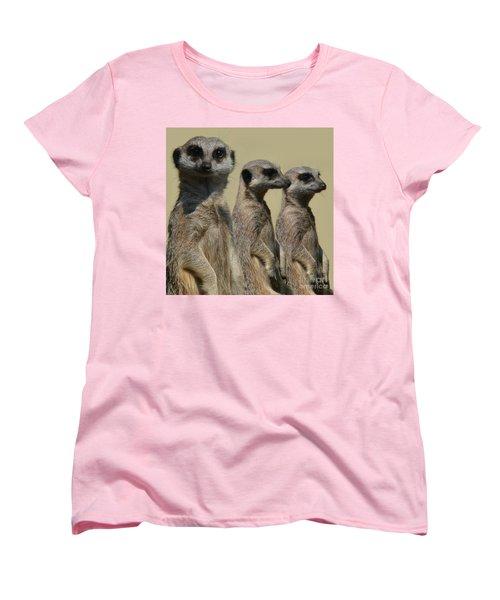 Line Dancing Meerkats Women's T-Shirt (Standard Cut) by Paul Davenport
