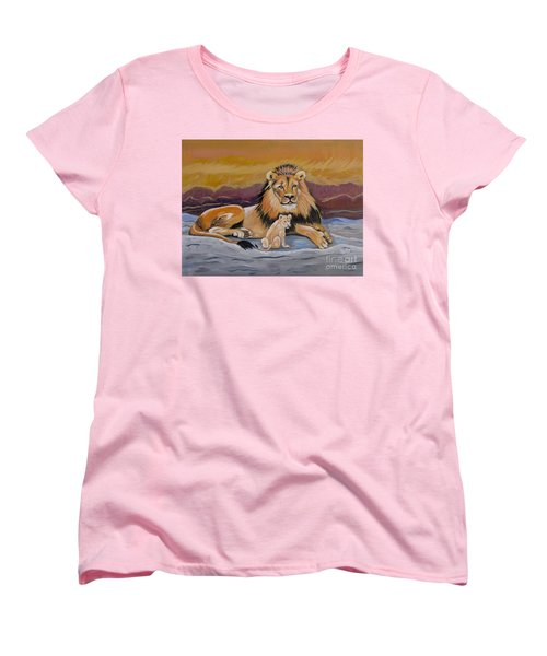 Women's T-Shirt (Standard Cut) featuring the painting Lion And Cub by Phyllis Kaltenbach