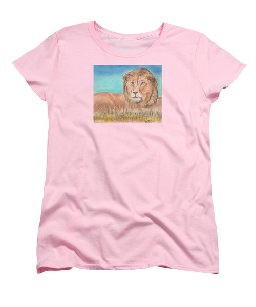 Women's T-Shirt (Standard Cut) featuring the pastel Lion by David Jackson