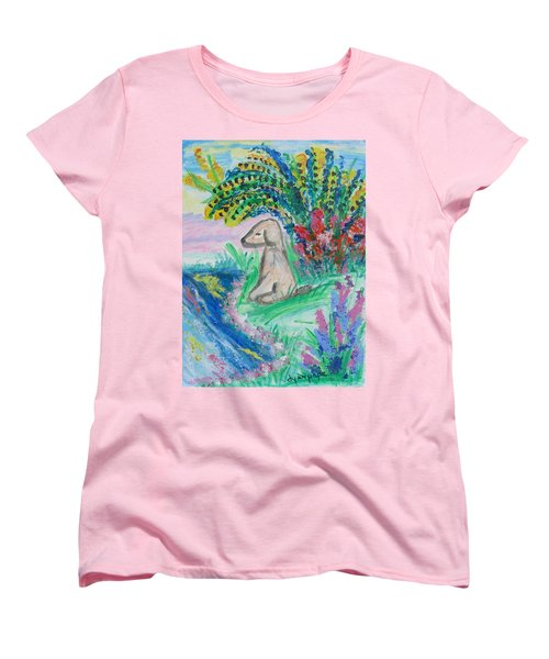 Women's T-Shirt (Standard Cut) featuring the painting Little Sweet Pea by Diane Pape