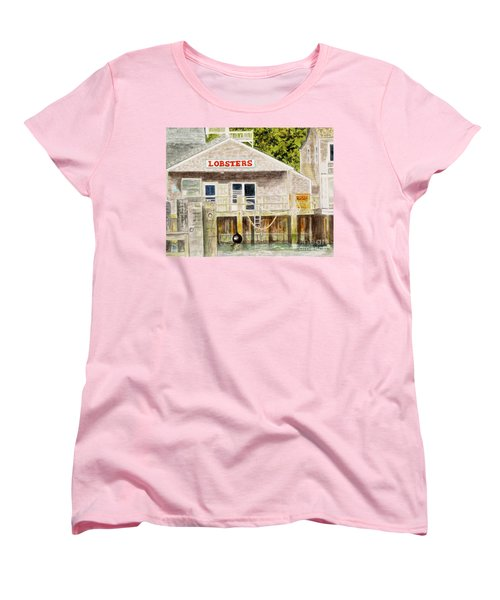 Women's T-Shirt (Standard Cut) featuring the painting Lobster Shack by Carol Flagg
