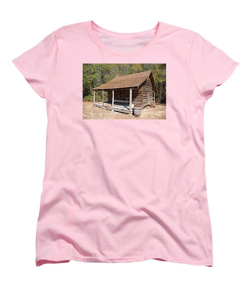 Women's T-Shirt (Standard Cut) featuring the photograph Log Cabin by Charles Beeler