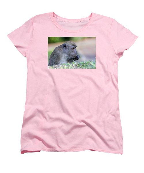 Women's T-Shirt (Standard Cut) featuring the photograph Long Tailed Macaque Feeding by Shoal Hollingsworth