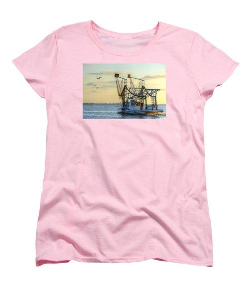 Louisiana Shrimping Women's T-Shirt (Standard Cut) by Charlotte Schafer