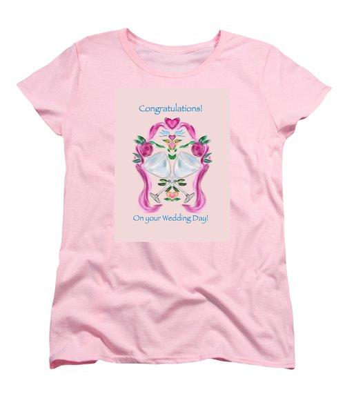 Women's T-Shirt (Standard Cut) featuring the digital art Love Birds Pink Wedding by Christine Fournier