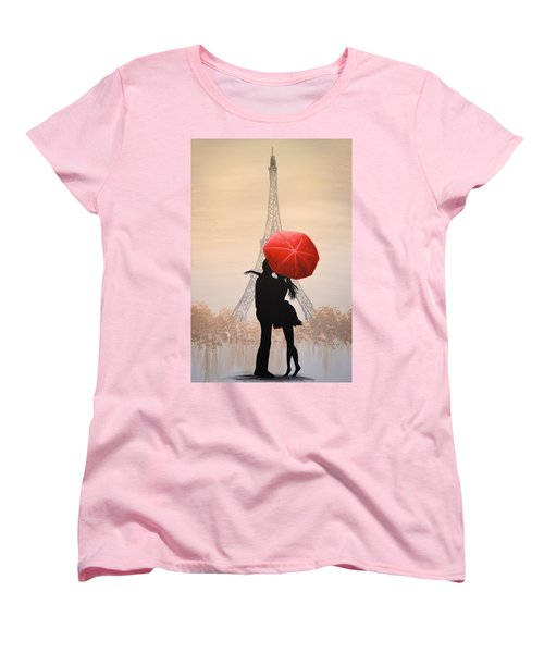 Women's T-Shirt (Standard Cut) featuring the painting Love In Paris by Amy Giacomelli
