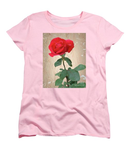 Love Is Like A Red Red Rose Women's T-Shirt (Standard Cut) by Janette Boyd