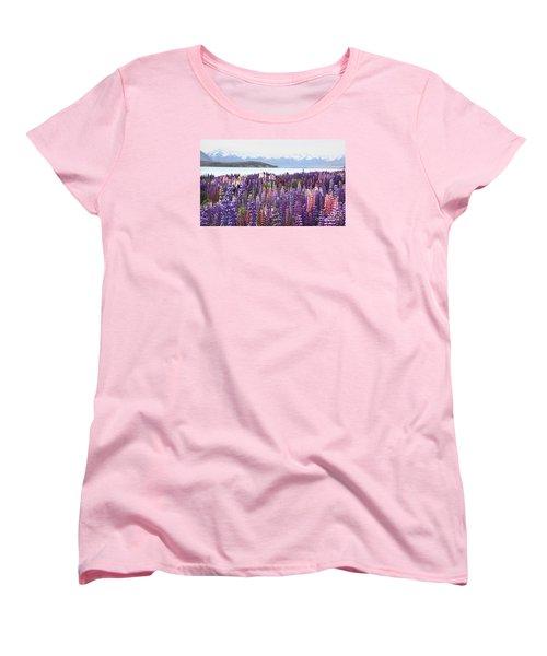 Women's T-Shirt (Standard Cut) featuring the photograph Lupins At Tekapo by Nareeta Martin