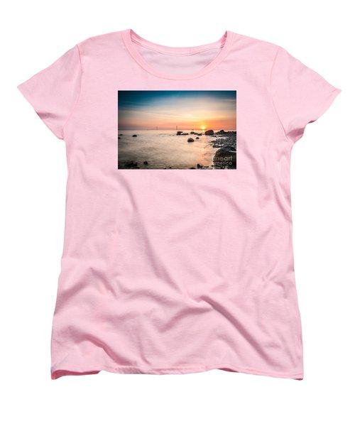 Women's T-Shirt (Standard Cut) featuring the photograph Mackinac Sunrise by Larry Carr