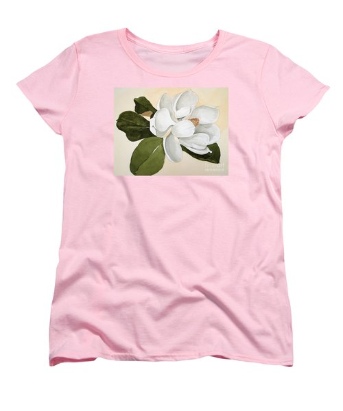 Magnolia Bloom Women's T-Shirt (Standard Cut) by Nancy Kane Chapman
