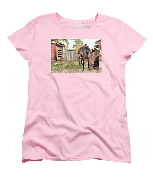 Mahaffie Stagecoach Stop And Farm Women's T-Shirt (Standard Cut) by Liane Wright
