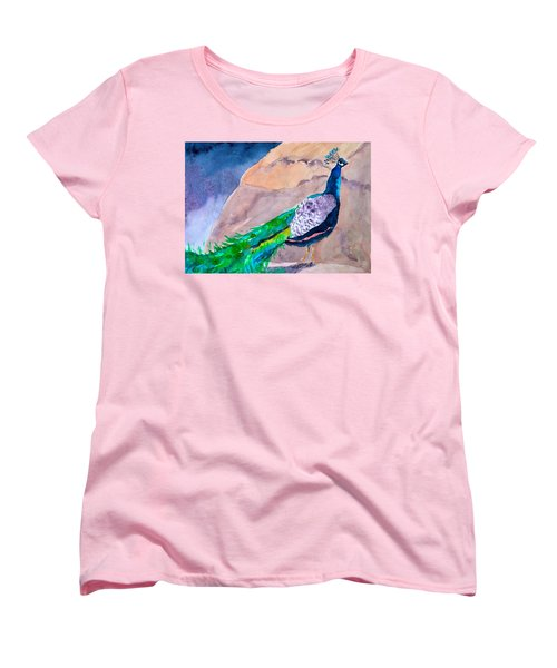 Women's T-Shirt (Standard Cut) featuring the painting Mellow Peacock by Beverley Harper Tinsley