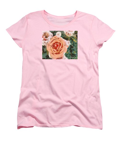 Alameda Meyers House Garden Klimt Rose Women's T-Shirt (Standard Cut) by Linda Weinstock