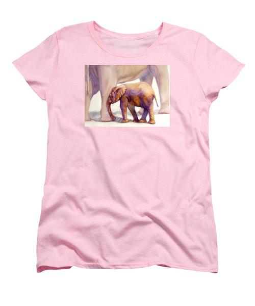 Mom And Baby Boy Elephants Women's T-Shirt (Standard Cut) by Bonnie Rinier