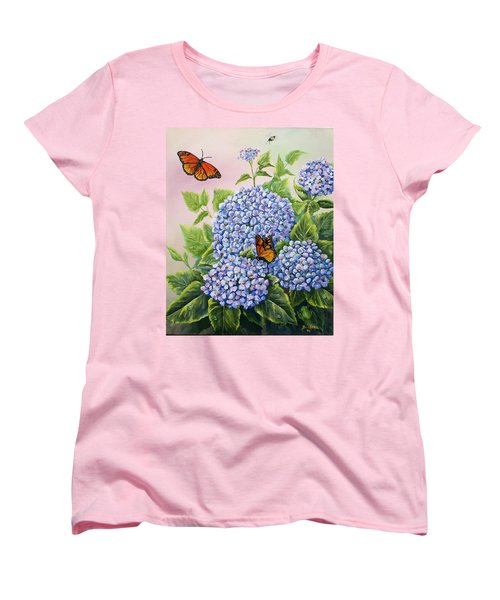 Monarchs And Hydrangeas Women's T-Shirt (Standard Cut) by Gail Butler