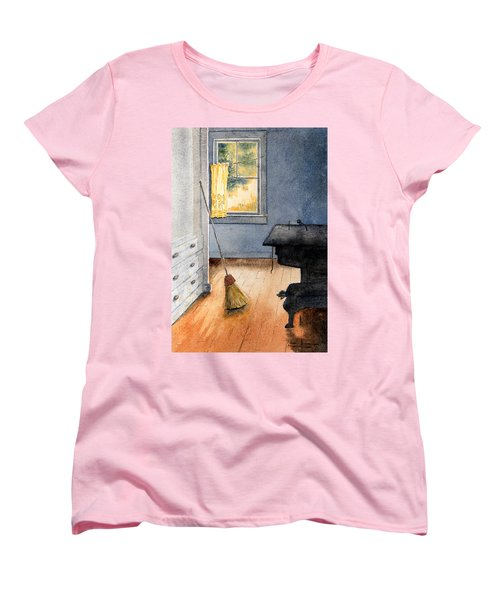 Women's T-Shirt (Standard Cut) featuring the painting Monhegan Kitchen by Roger Rockefeller