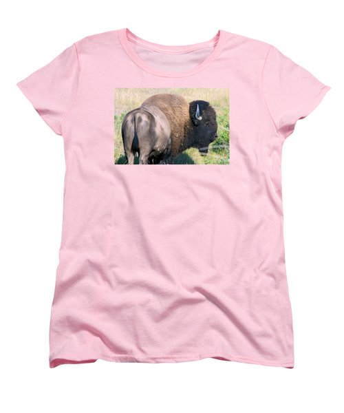 Montana Buffalo Bison Bull Women's T-Shirt (Standard Cut) by Karon Melillo DeVega