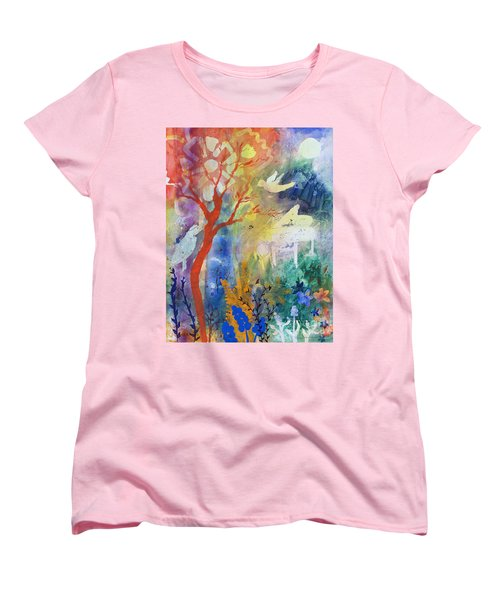Women's T-Shirt (Standard Cut) featuring the painting Moonlight Serenade by Robin Maria Pedrero