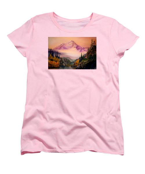 Women's T-Shirt (Standard Cut) featuring the painting Mount Baker Morning by Sherry Shipley