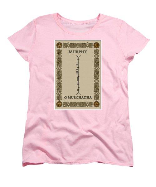 Women's T-Shirt (Standard Cut) featuring the digital art Murphy Written In Ogham by Ireland Calling