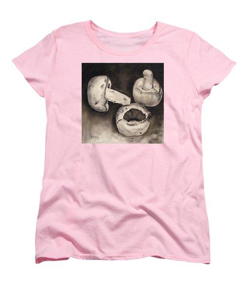 Women's T-Shirt (Standard Cut) featuring the painting Mushrooms by Donna Tuten