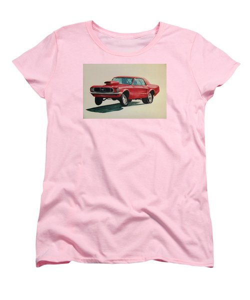 Women's T-Shirt (Standard Cut) featuring the painting Mustang Launch by Stacy C Bottoms