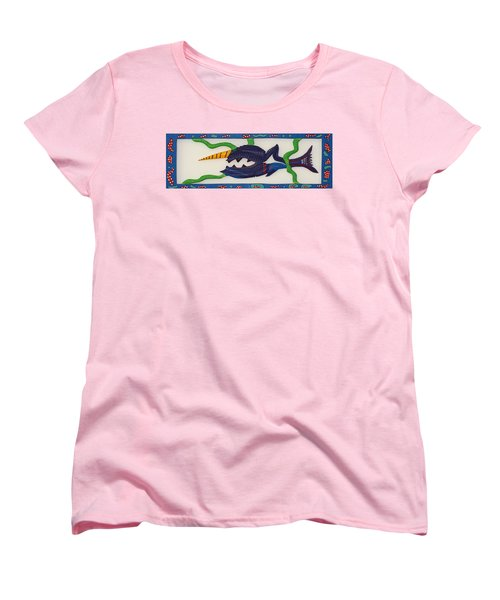 Women's T-Shirt (Standard Cut) featuring the sculpture My First Fish Dinner by Robert Margetts