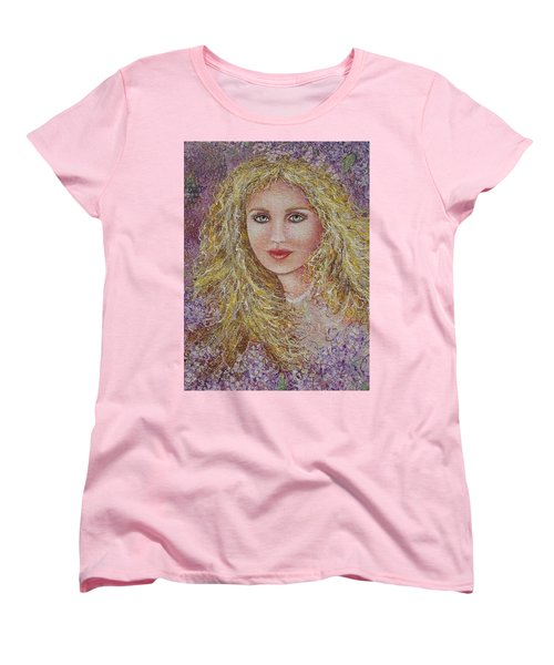 Women's T-Shirt (Standard Cut) featuring the painting Natalie In Lilacs by Natalie Holland