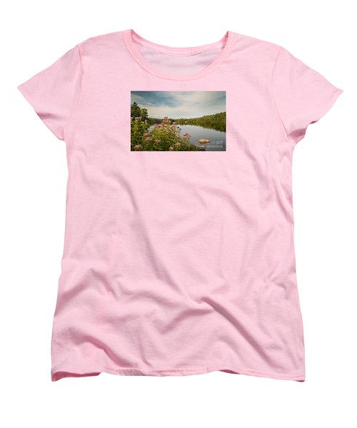 Women's T-Shirt (Standard Cut) featuring the photograph New York Lake by Debbie Green