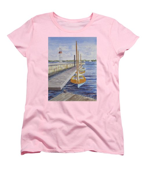 Women's T-Shirt (Standard Cut) featuring the painting Newport Boats In Waiting by Carol Flagg