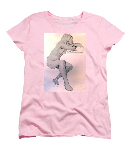 Women's T-Shirt (Standard Cut) featuring the drawing Nude Of A Dreamy Young Woman by Greta Corens