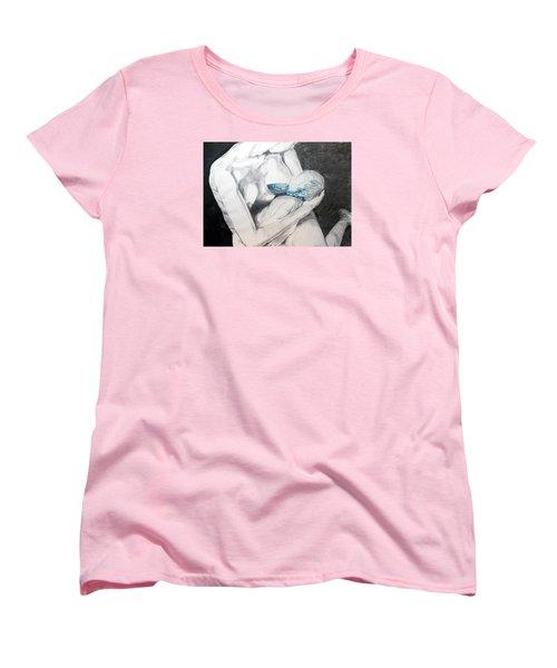 Women's T-Shirt (Standard Cut) featuring the painting Nurturing The Sea by Lazaro Hurtado