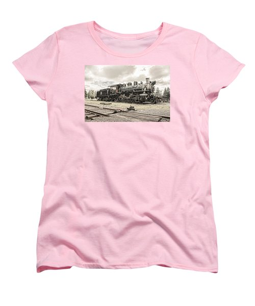 Women's T-Shirt (Standard Cut) featuring the photograph Old Steam Locomotive No. 97 - Made In America by Gary Heller