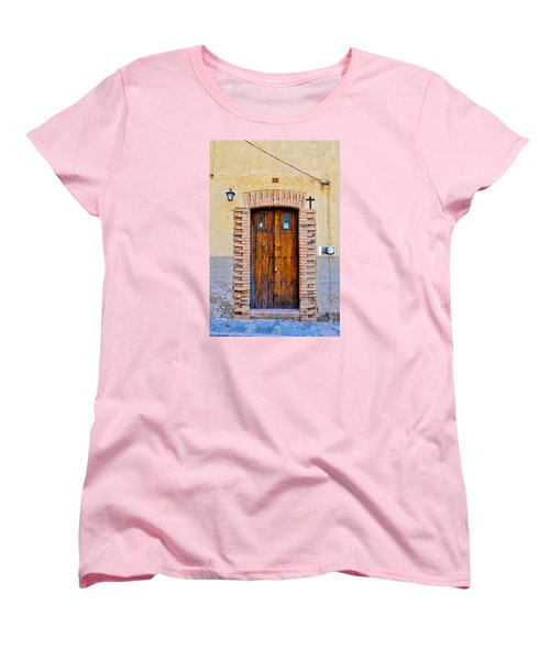 Old Wooden Door - Mexico - Photograph By David Perry Lawrence Women's T-Shirt (Standard Cut) by David Perry Lawrence