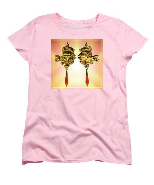 Women's T-Shirt (Standard Cut) featuring the sculpture One Gold Sculpture Pendant by Hartmut Jager