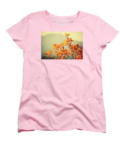 Women's T-Shirt (Standard Cut) featuring the photograph Orange Leaves by Yew Kwang