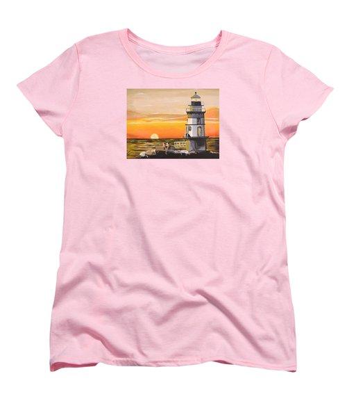 Orient Point Lighthouse Women's T-Shirt (Standard Cut) by Donna Blossom