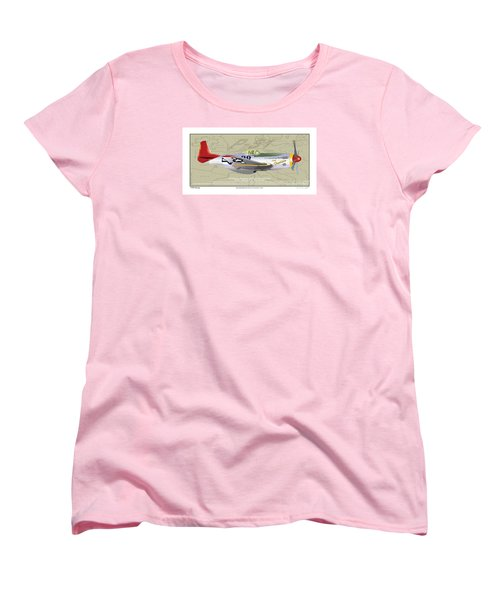 Women's T-Shirt (Standard Cut) featuring the drawing P-51  by Kenneth De Tore