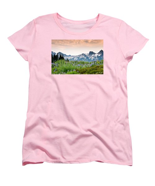 Women's T-Shirt (Standard Cut) featuring the photograph Paradise Meadows And The Tatoosh Range by Jeff Goulden
